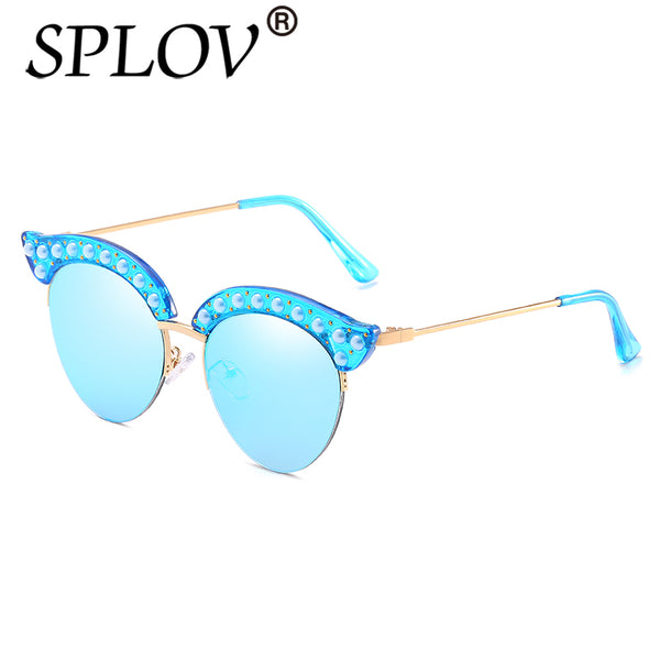 47efd102b3 SPLOV 2018 New arrival Pearl Rivets Cat Eye Sunglasses Women Luxury Semi  Rimless Sun Glasses Vintage ...