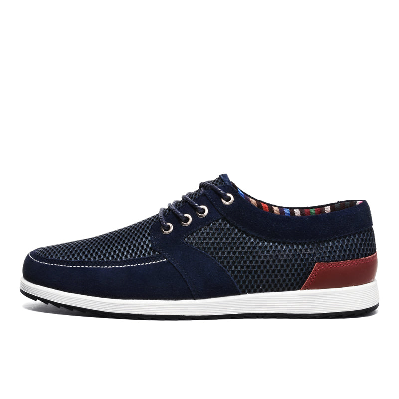 dc1d2c033b2 SUROM 2018 Summer New Fashion Shoes Men Sneakers Luxury Brand Breathable  Leather Mesh Lace Up Casual