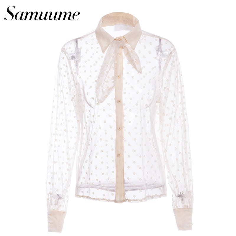 e2413b54c2657c Samuume 2018 New Arrival Spring Summer Sexy Mesh Blouse Long Sleeve Peter  pan Collar Dots Printed
