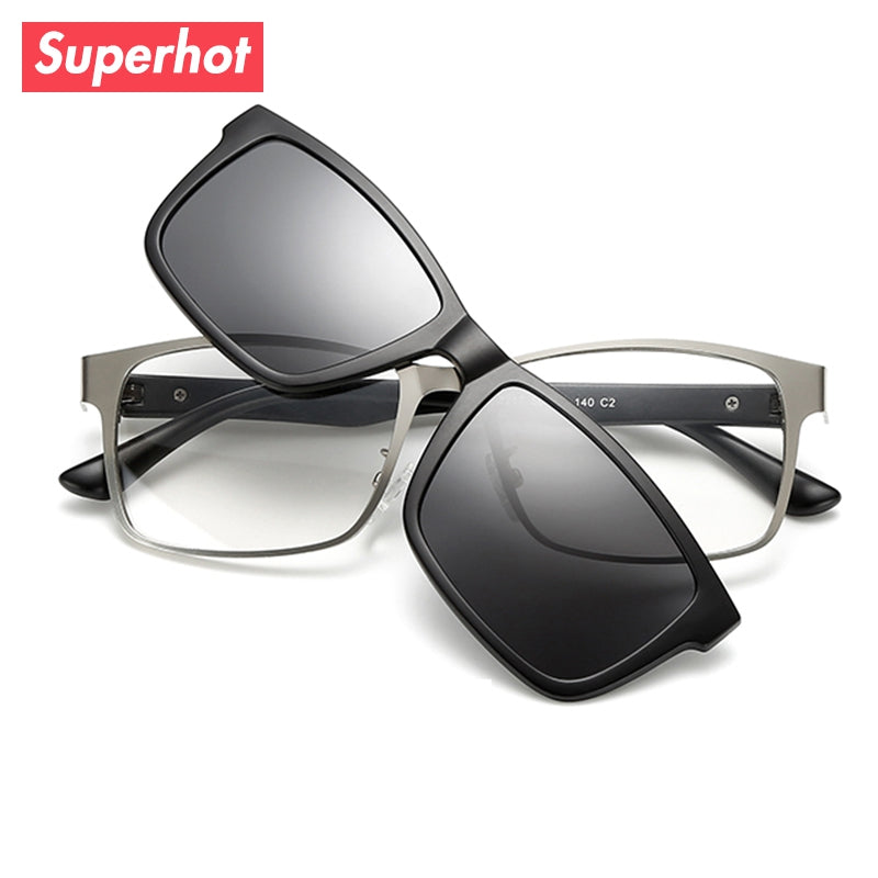 793af1e0d9 Superhot Eyewear - Aolly Rectangle Eyeglasses Frame Spectacle Glasses with Magnetic  Polarized Sun Clips Men Optics
