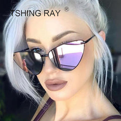 24937ced32a TSHING RAY Ladies Fashion Mirror Cat Eye Sunglasses Women Vintage Wrap  Metal Frame Clear Lenses Sun