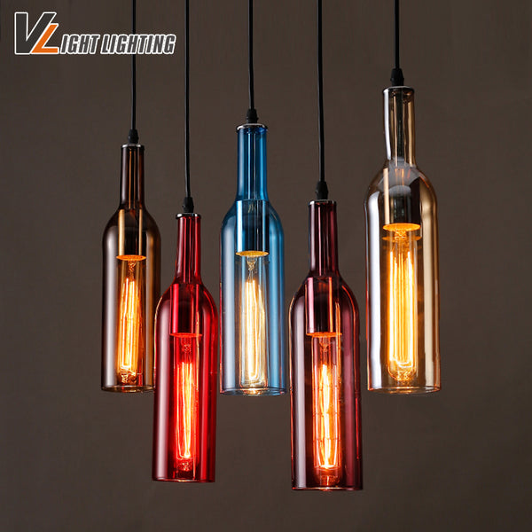Vintage industrial loft colorful red wine bottle glass ceiling light vintage industrial loft colorful red wine bottle glass ceiling light novelty restaurant cafe bar hanging lamps aloadofball Gallery