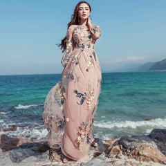 a815a079d839f Vintage Mexican Dress Women Spring Summer Embroidered Mesh Long Dress Boho  People 2018 High Quality Designer