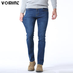 51685fd396558 Vomint 2017 Men Jeans New Fashion Spliced Leather Casual Jeans Slim  Straight High Elasticity Feet Jeans