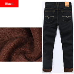 4c7baeee45926 ... Winter Men S Warm Fleece Jeans Plus Size Thicken Velvet Boot Cut Jeans  46 48 Brand Classical