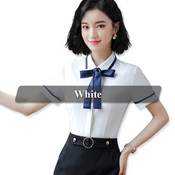 41e1e076aa26 ... Women Tie Shirts with Bow Blouse Short Sleeve Tops Summer Wear Style Female  Office Lady Ruffle