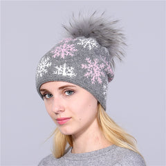 48fbe1d08e3 XTHREE real mink pom poms wool rabbit fur knitted hat Skullies winter hat  for women girls