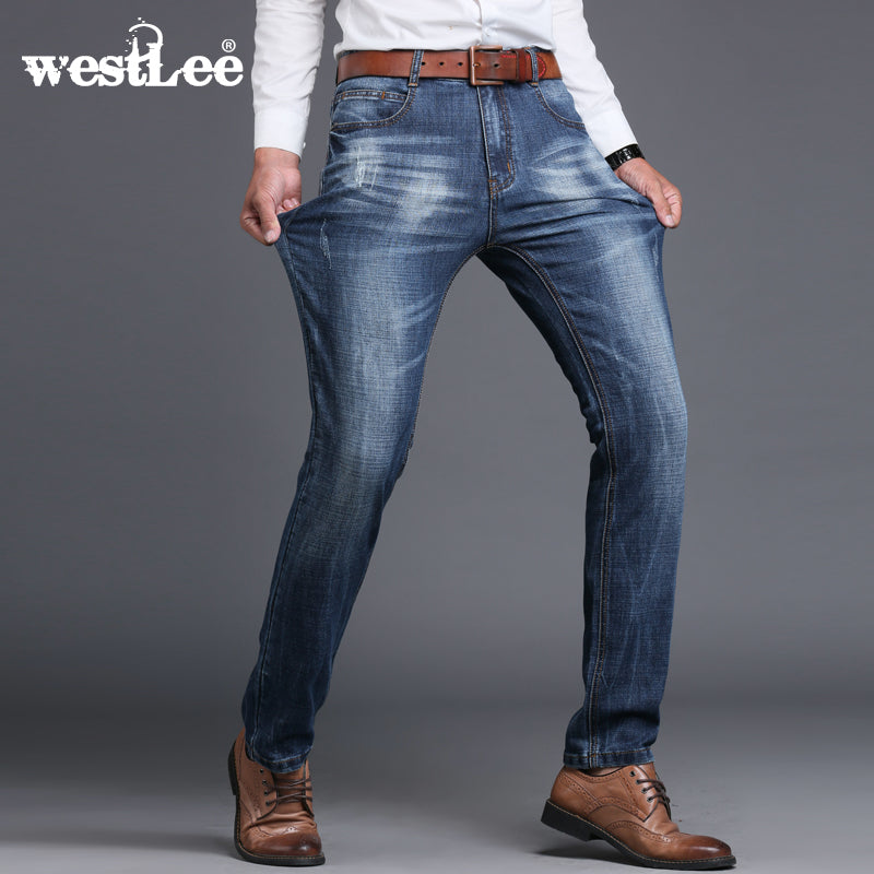 Men's Clothing Sulee Brand New Spring Autumn Jeans Men Loose Fit Male Blue Denim Pants Top Quality Casual Denim Trousers Wide Leg Jeans