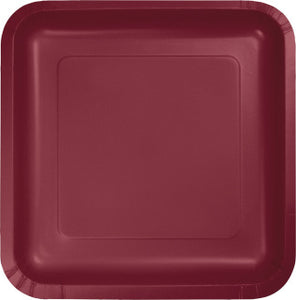 "Burgundy 7"" Square Paper Plate"