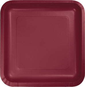 "Burgundy 9"" Square Paper Plate"