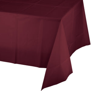"Burgundy Plastic Tablecover 54""x108"""