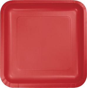 "Classic Red 9"" Square Paper Plate"