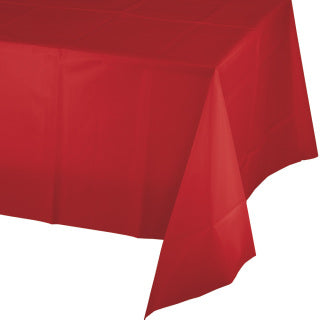 Classic Red Plastic Tablecover 54