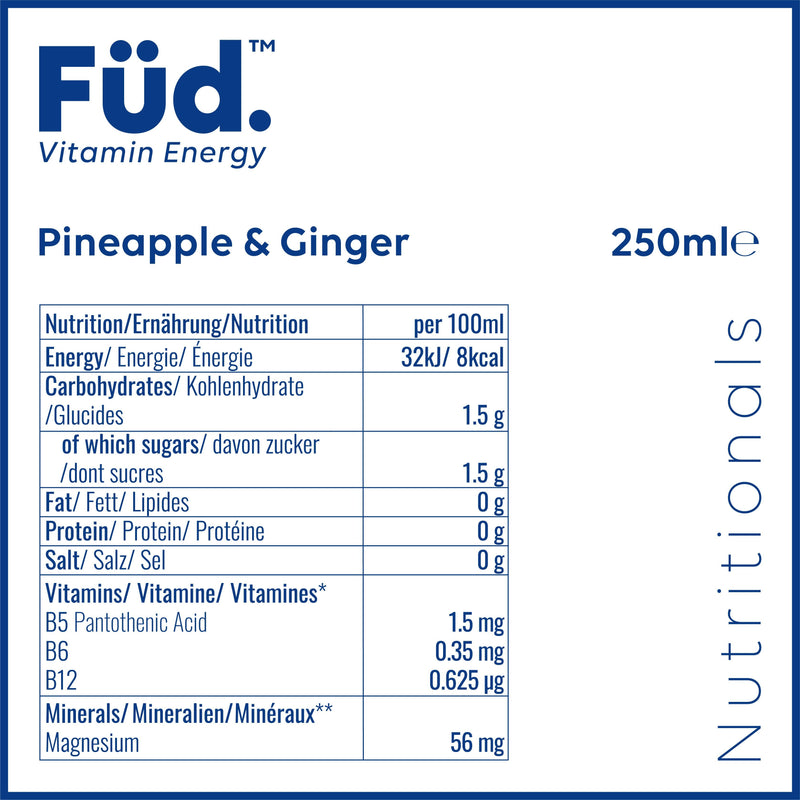 Mixed Case 12x250ml (6x Berry & Coconut + 6x Pineapple & Ginger) - Füd. Vitamin Energy
