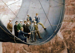 1935: Officials ride in one of the penstock pipes of the soon-to-be-completed Hoover Dam