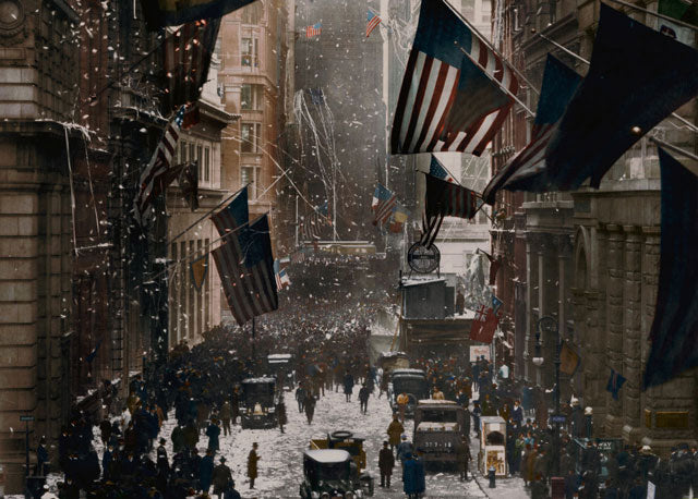 1918: Celebrations on Wall Street, New York following the surrender of Germany