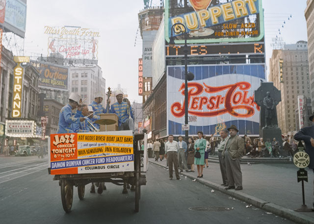1947: Portrait of Art Hodes, Kaiser Marshall, Henry (Clay) Goodwin, Sandy Williams, and Cecil (Xavier) Scott, Times Square, New York, N.Y by William Gottlieb