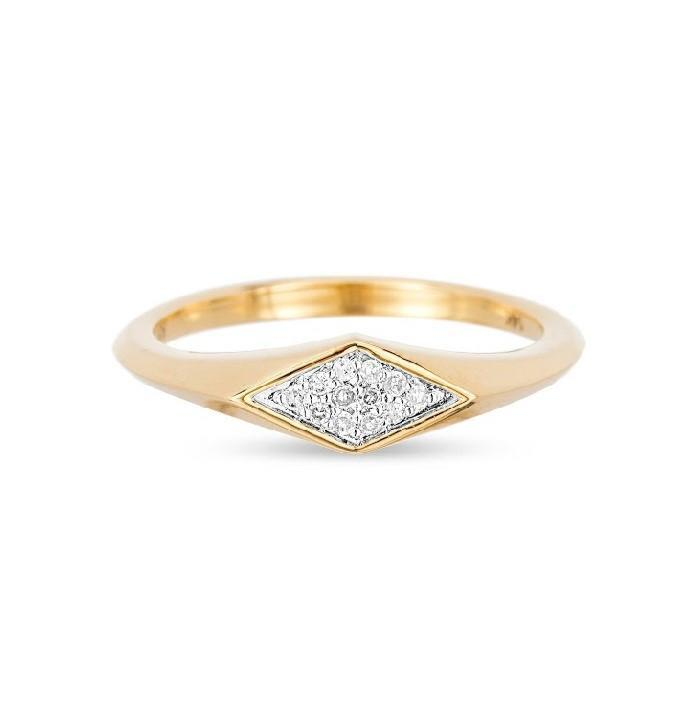 Small Pave Diamond Signet Ring