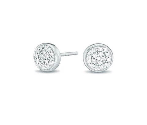 Solid Pave Disc Posts Sterling Silver
