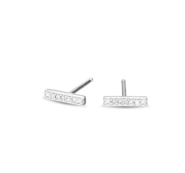 Super Tiny Pave Bar Posts Sterling Silver Earrings