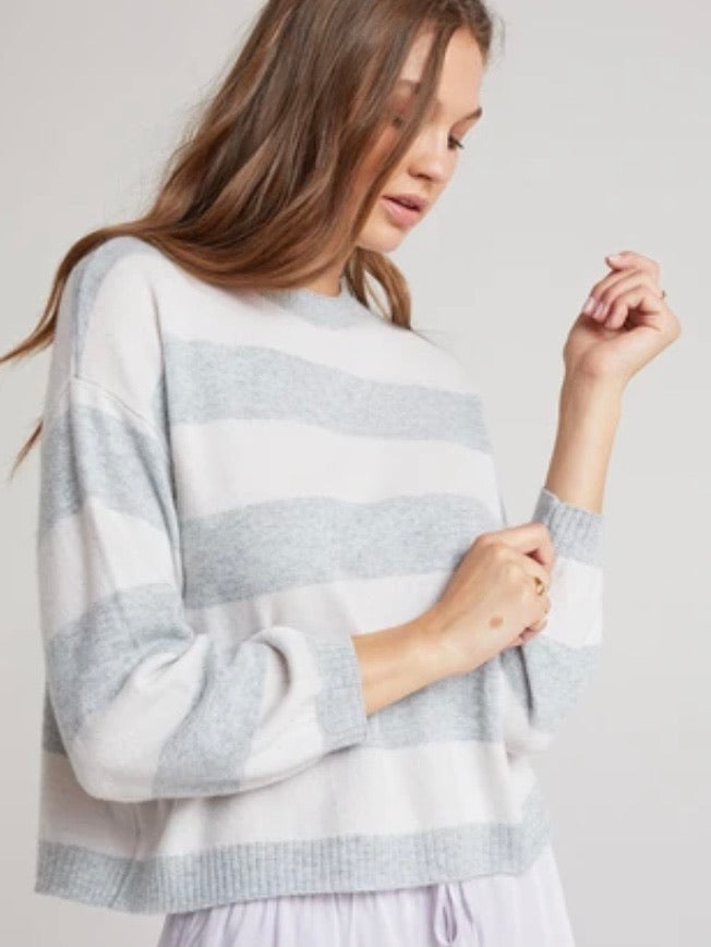 Bishop Sleeve Sweater Heather Grey Stripe