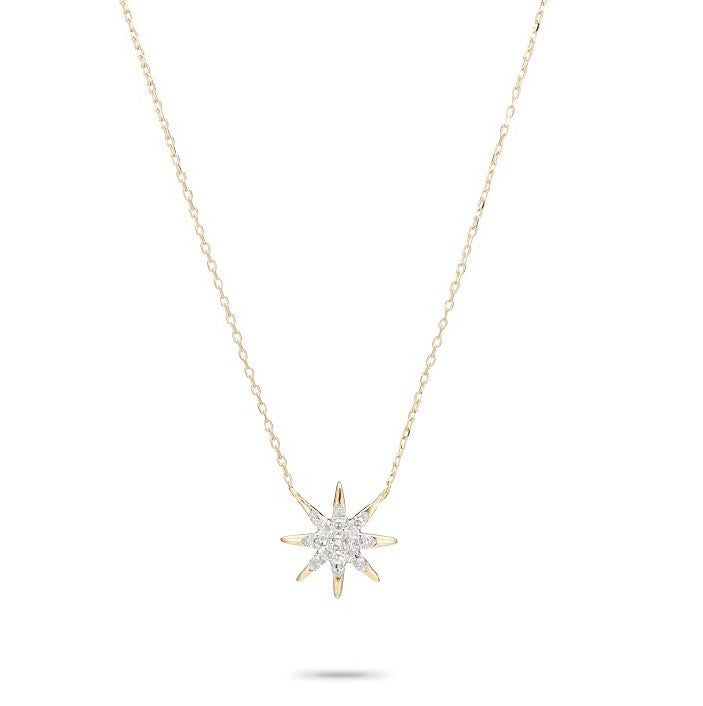 Solid Pave Starburst Necklace