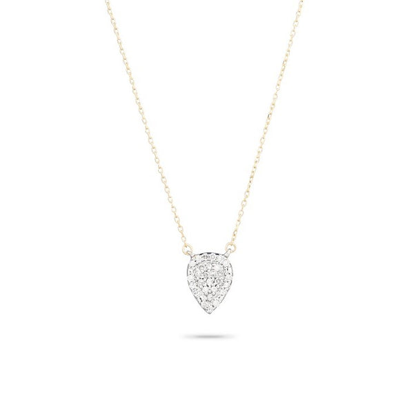 Solid Pave Teardrop Necklace