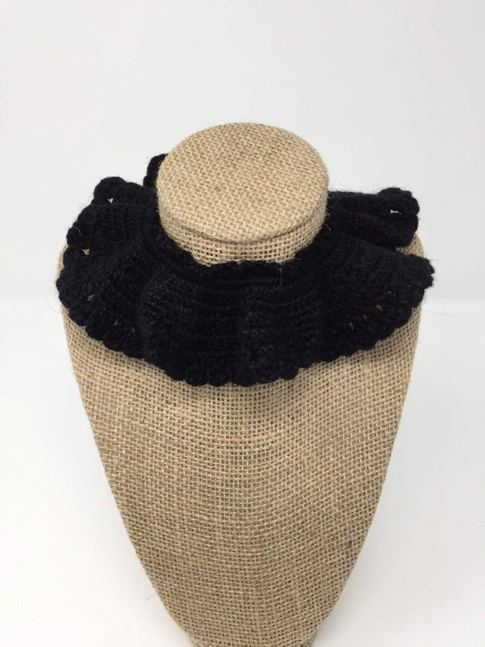 Black Hand Crochet Alpaca Wool Pet Collars