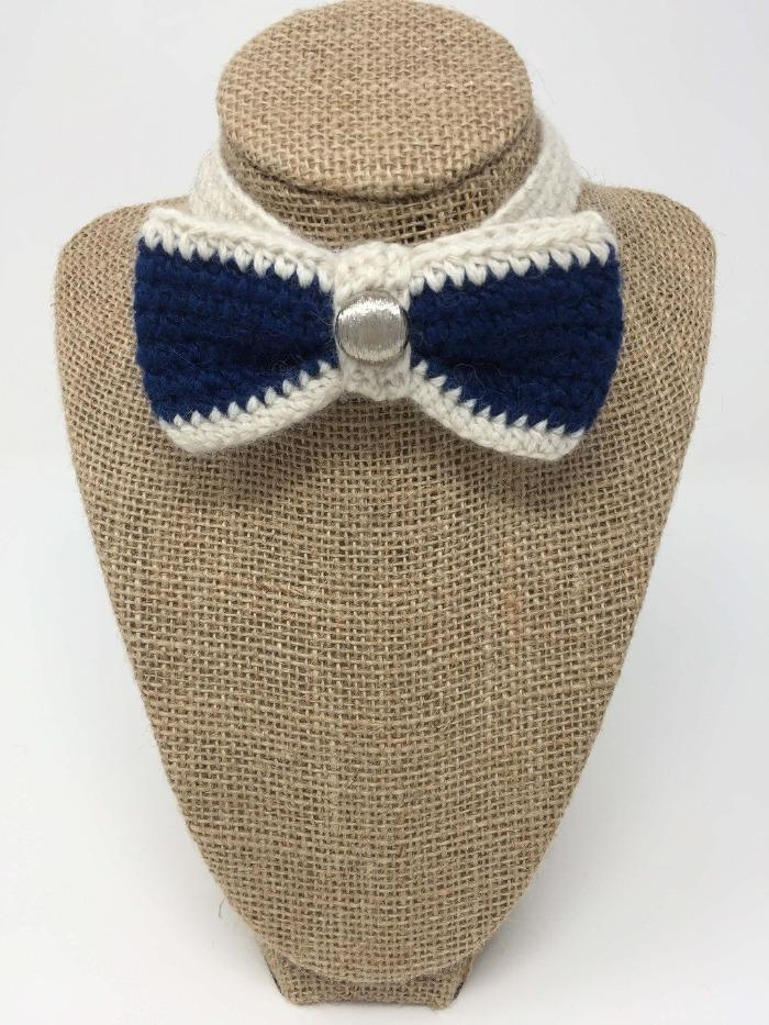 Blue and Ivory Bow Tie