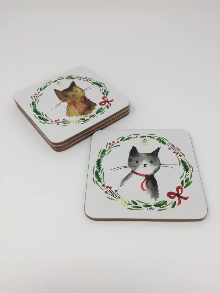 Christmas Cats Coaster Set (4 pcs.)
