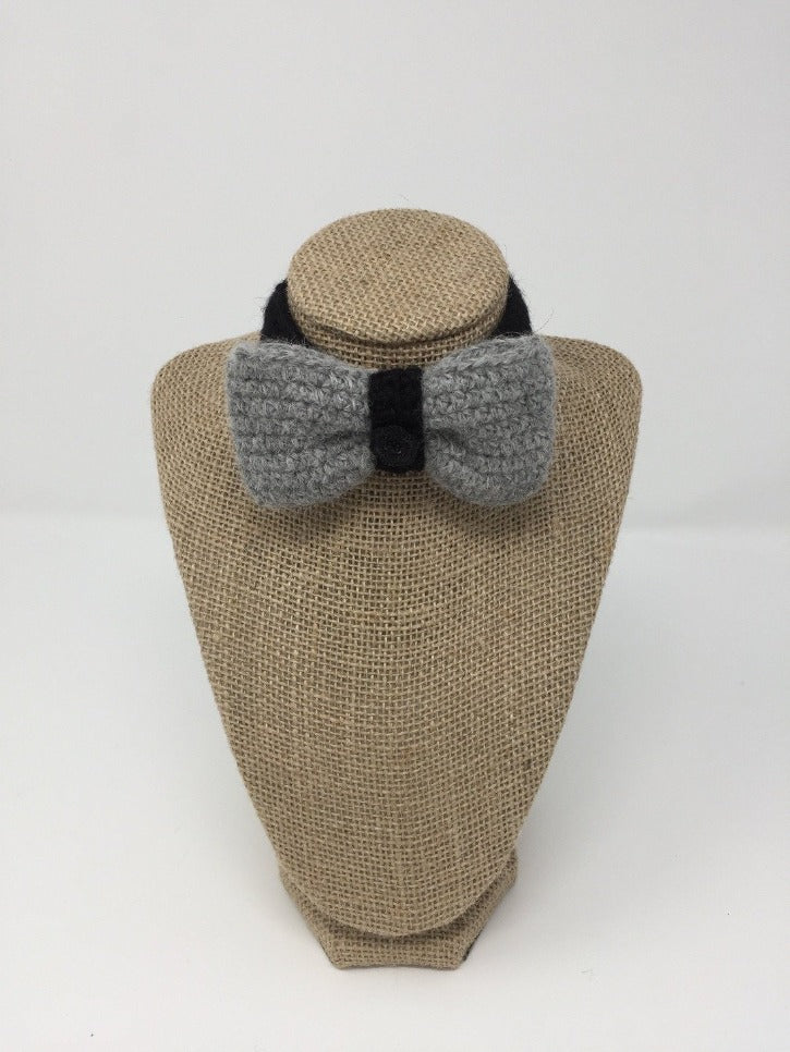 Black and grey Hand Crochet Alpaca Wool Pet Bow Tie
