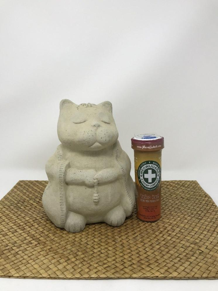 Picture of a ceramic cat sitting next to a colorful tube of cat snacks