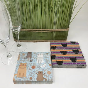 Cat Cocktail Napkins - 2 pack set