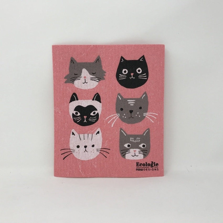 Pink sponge dish rack mats with black, grey, and black cat on a white background
