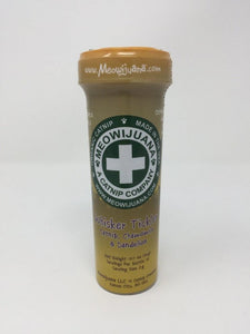 Picture of a yellow and green tube of medical catnip standing on a white background