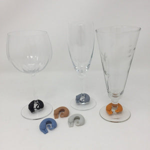 Six cat glass charms with two champagne glasses