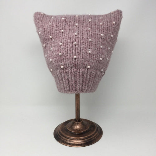 Beaded Mauve Pink Cat Hat