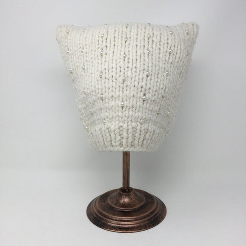 Beaded Ivory Cat Hat