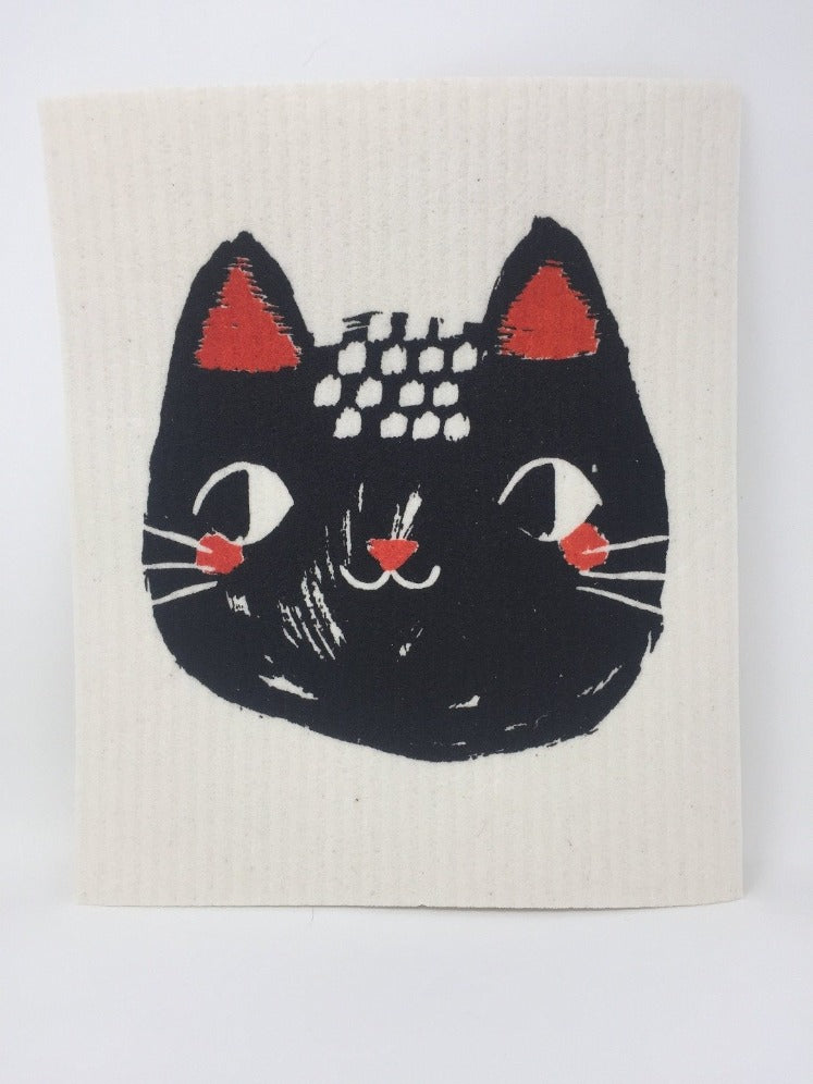 White cat-themed sponge cloth dish rack towel with a black cat face on it