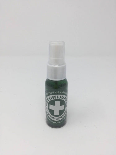 Picture of a green catnip spray bottle standing on a white background