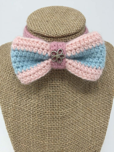 Picture of a pink blue and lavender Hand Crochet Alpaca Wool Pet Bow Tie around a tan brown bust