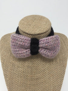 Lavender and black colored Hand Crochet Alpaca Wool Pet Bow Tie