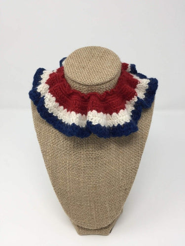 Red, white, and blue Hand Crochet Alpaca Wool Pet Collars around a tan brown bust