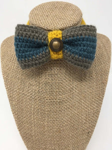 Navy blue and grey Hand Crochet Alpaca Wool Pet Bow Tie