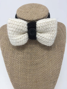 White and black Hand Crochet Alpaca Wool Pet Bow Tie