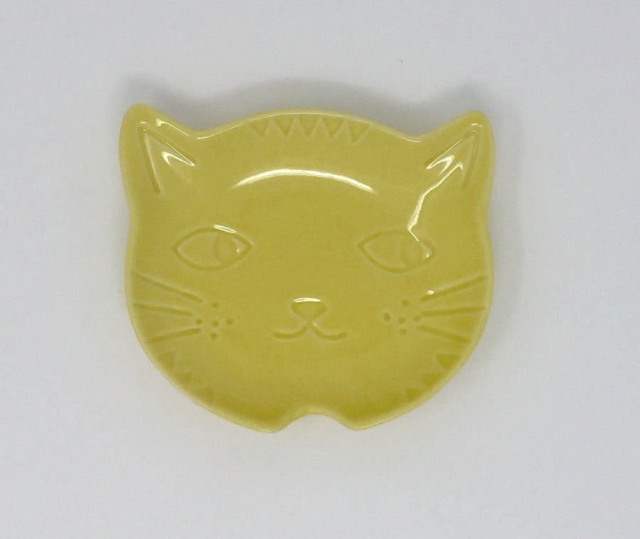 Yellow Stoneware Cat Face Spoon Rest