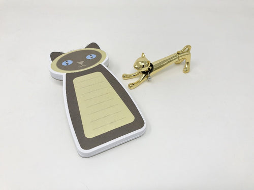 Siamese Cat Notepad and Gold Cat Pen Gift Set