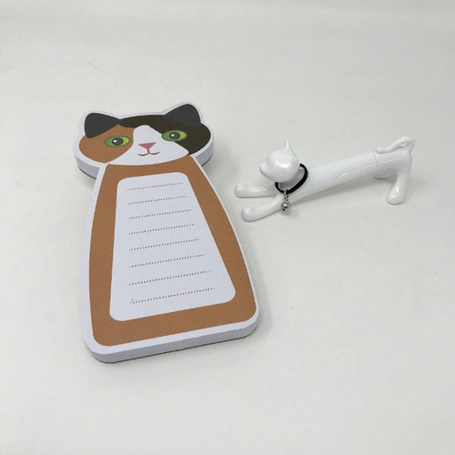 Calico Cat Notepad and White Cat Pen Gift Set