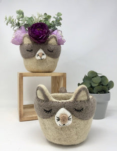 Two grey and off-white felt cat pot holders with flowers inside of one of them