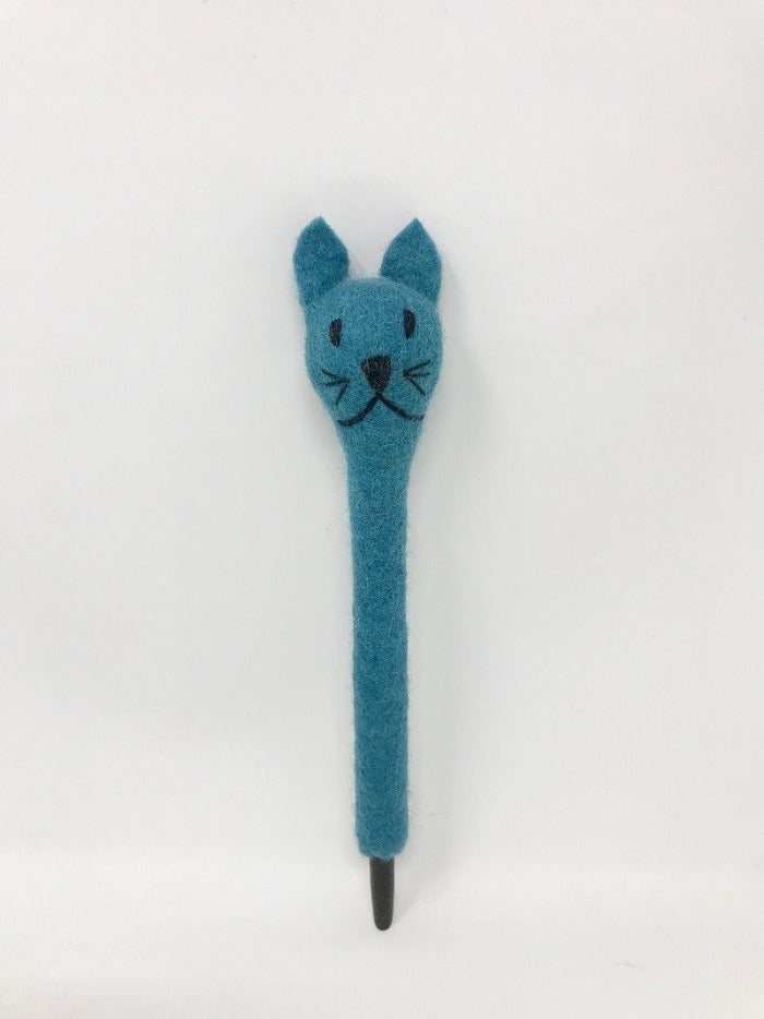 Picture of a turquoise blue colored felt cat pen laying on an all white surface